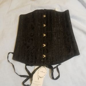 Nwt Black corset under bust tie up scroll print